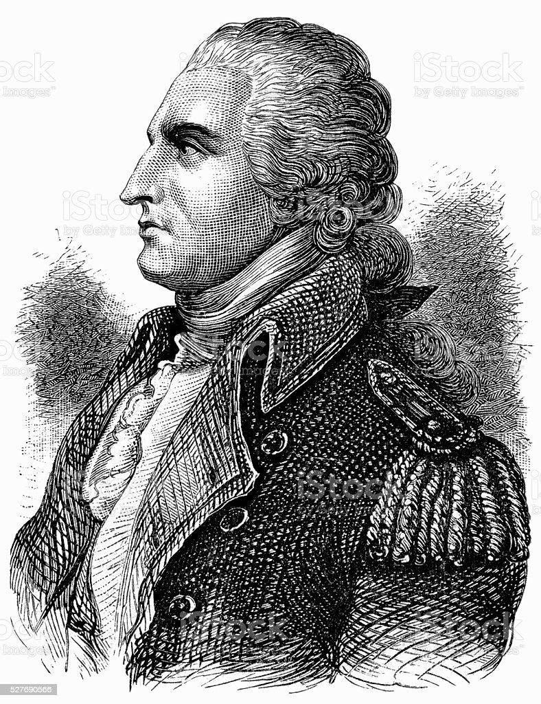 Benedict Arnold Engraving from Du Simitier Portrait stock photo