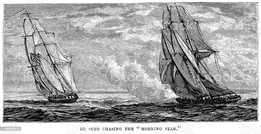Benito de Soto chasing the Morning Star vector art illustration
