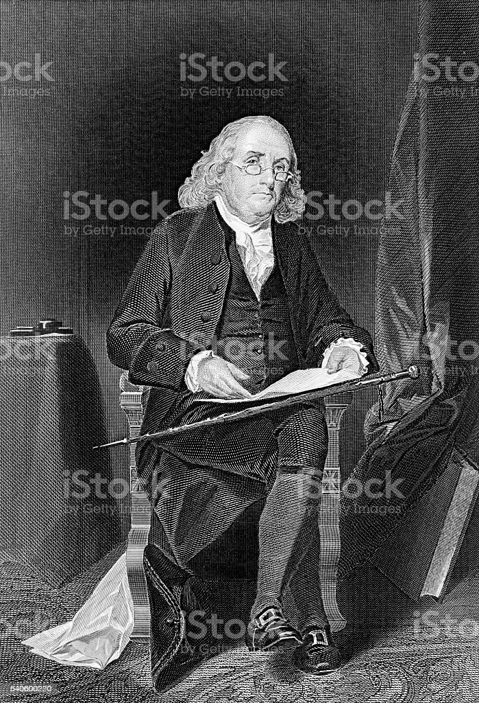 Benjamin Franklin, one of the Founding Fathers of USA vector art illustration