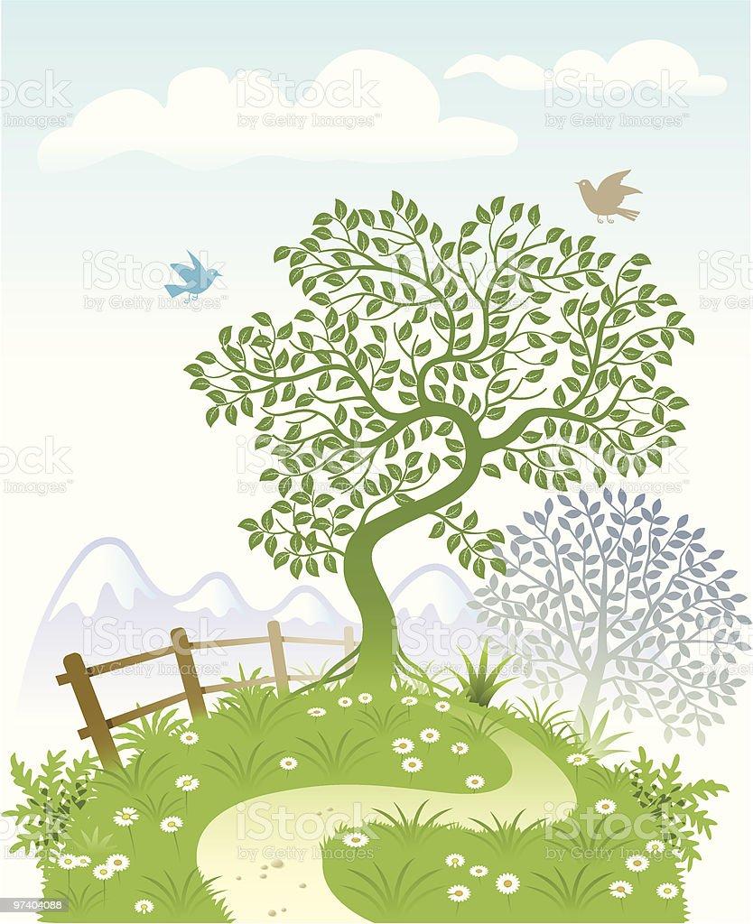 Bent tree garden vector art illustration