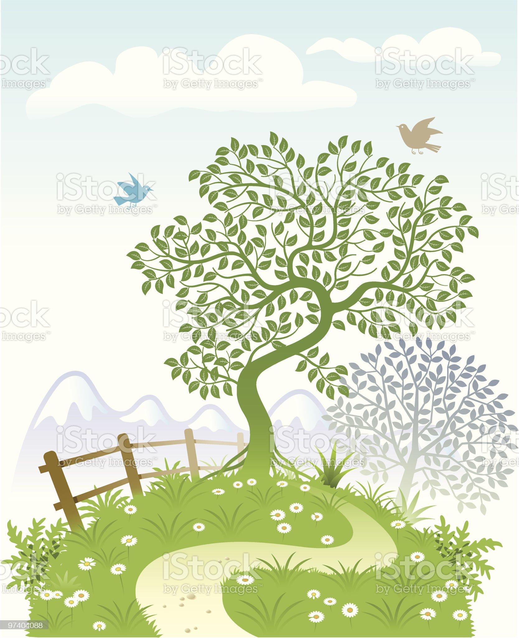 Bent tree garden royalty-free stock vector art