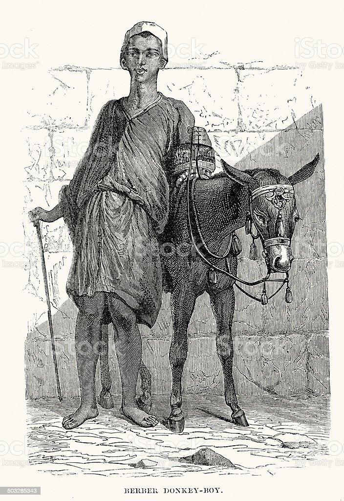 Berber donkey boy royalty-free stock vector art