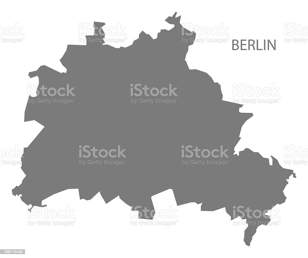 Berlin Germany Map grey vector art illustration