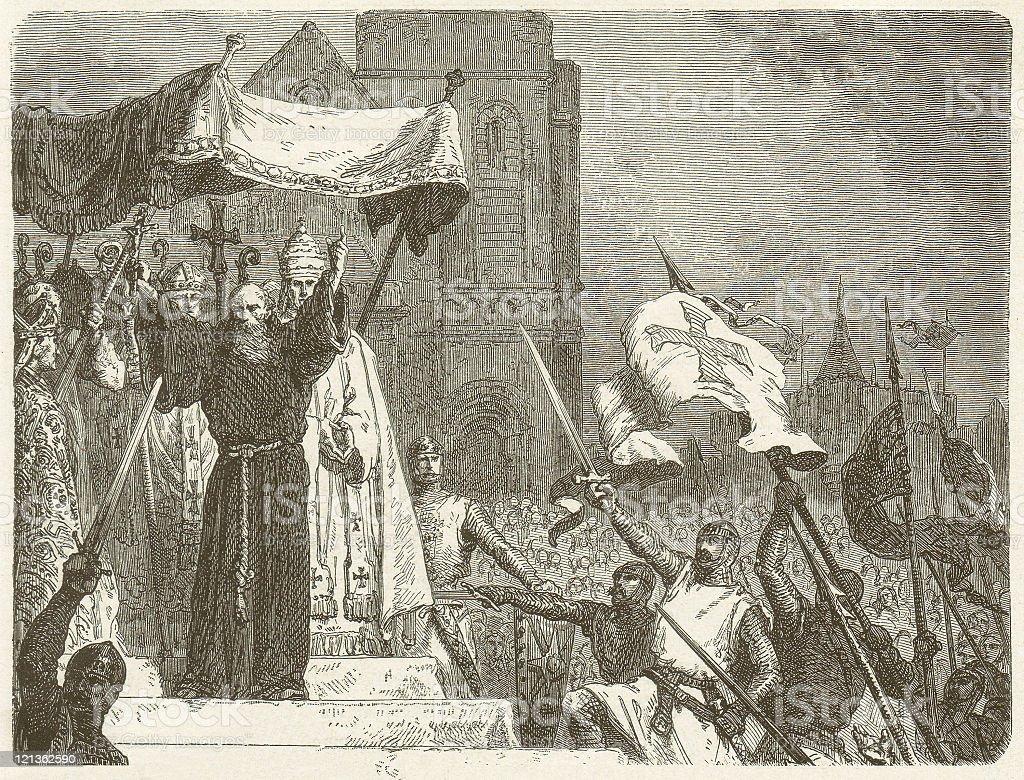 Bernard of Clairvaux (c. 1090-1153) calls for a crusade vector art illustration