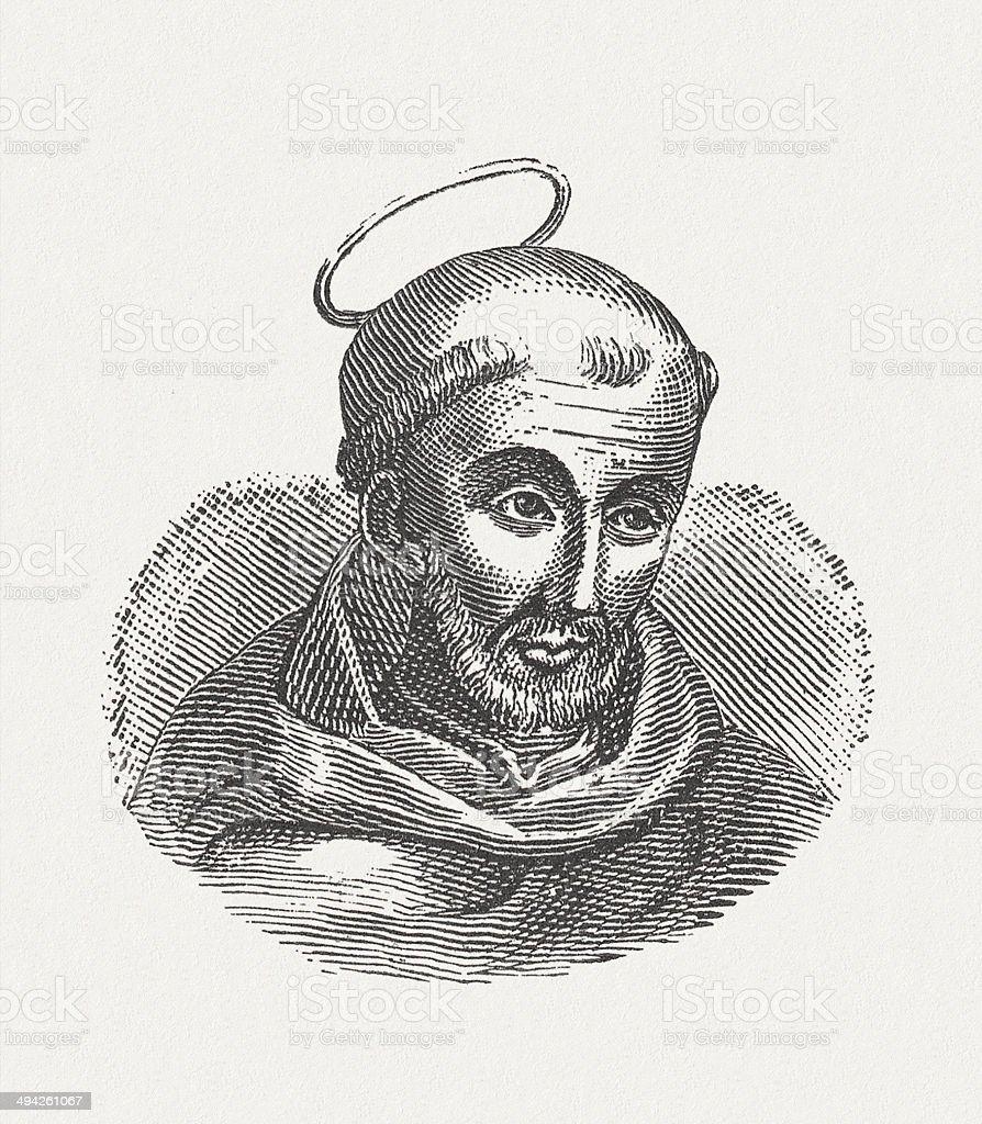 Bernard of Clairvaux (c.1090-1153), vector art illustration