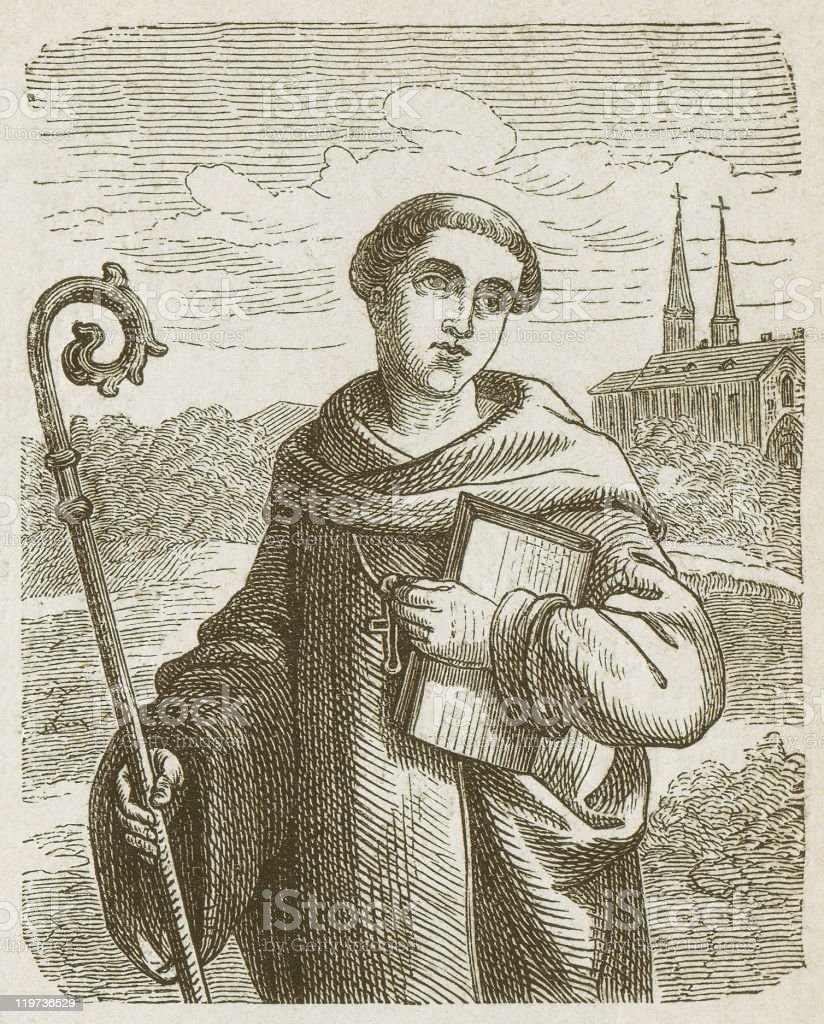 Bernard of Clairvaux (1090-1153), wood engraving, published in 1877 royalty-free stock vector art