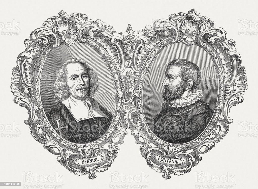 Bernini and Fontana, Italian architects, published in 1878 vector art illustration