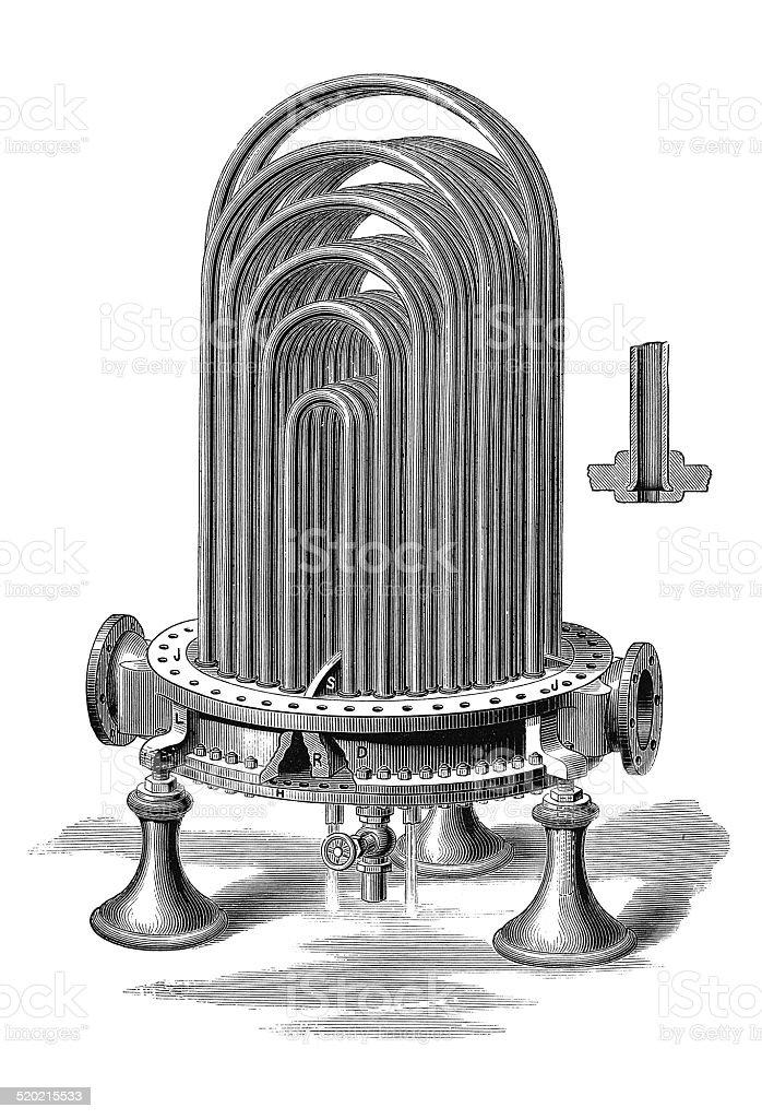 Berryman's heater - interior (antique engraving) vector art illustration