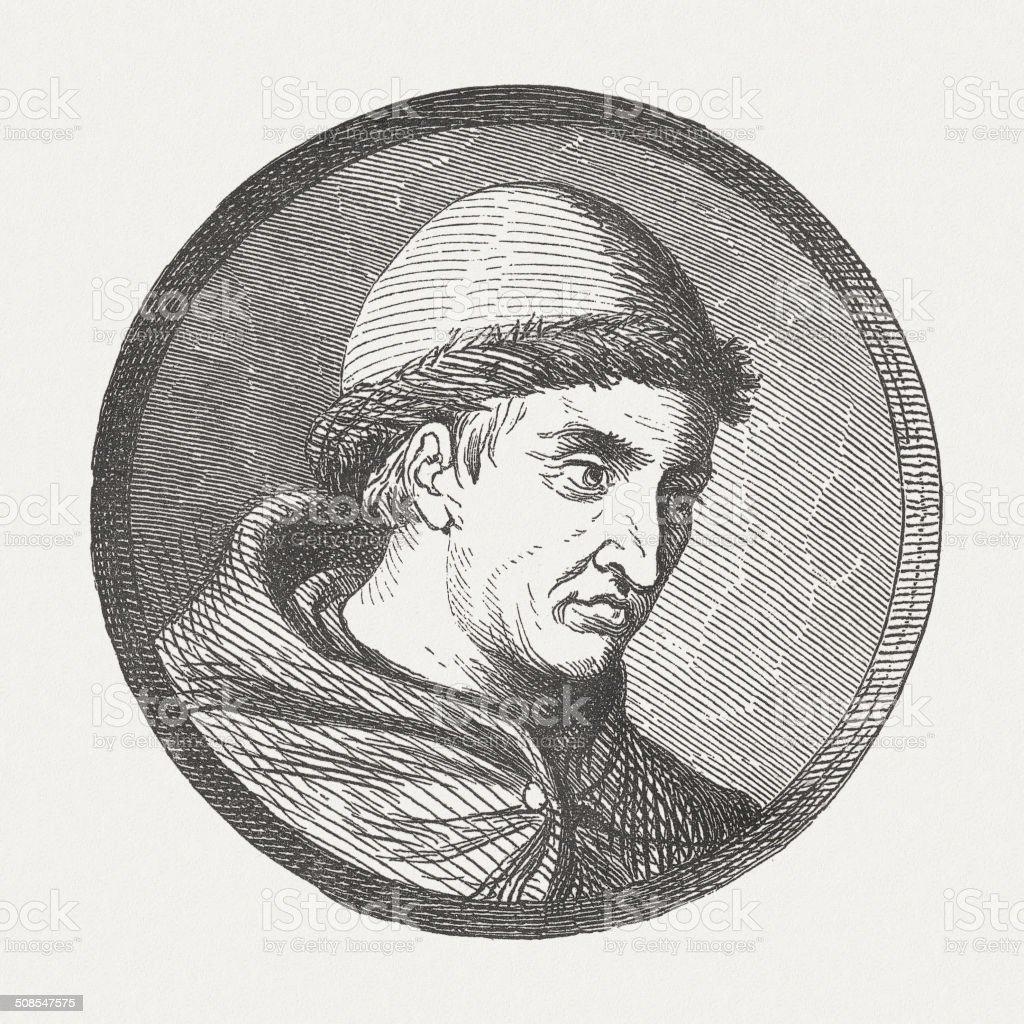 Berthold Schwarz, Franciscan monk (14th century), inventor of black powder vector art illustration
