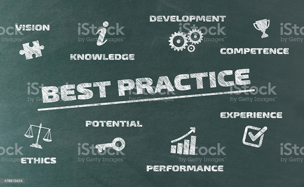 Best Practice Concept on Blackboard vector art illustration