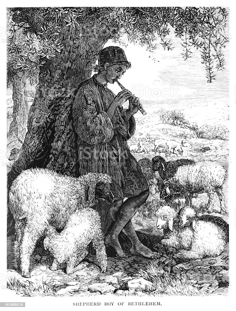 Bethlehem shepherd boy playing music royalty-free stock vector art