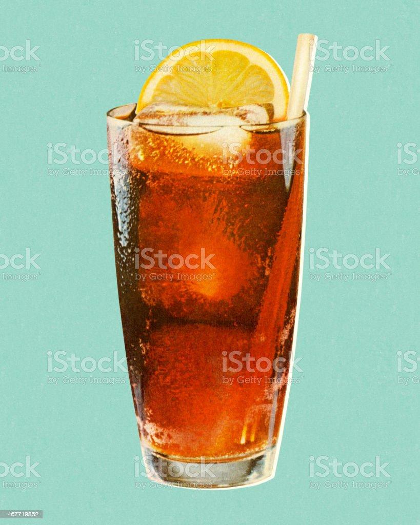 Beverage and Lemon in Glass vector art illustration