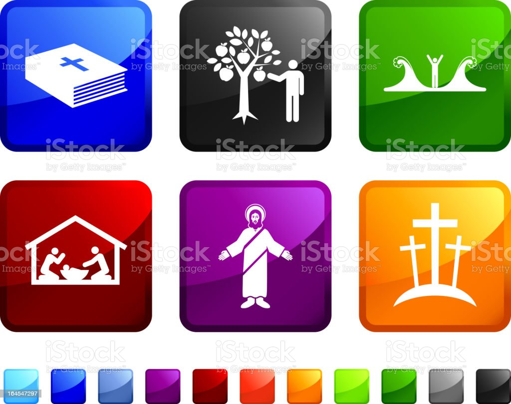 Bible Story royalty free vector icon set stickers vector art illustration