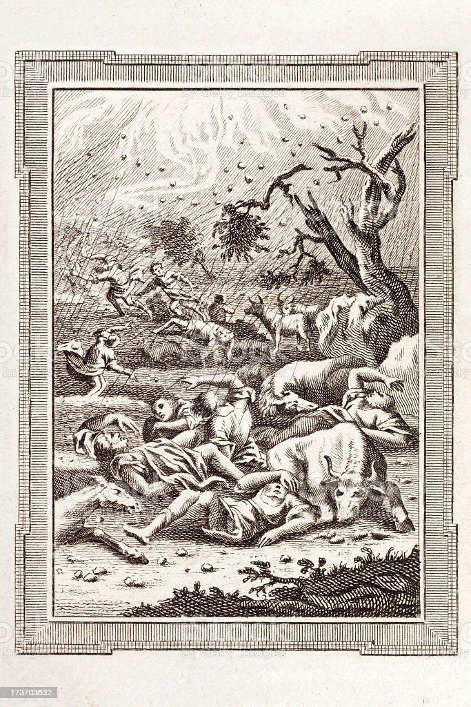 Biblical Storm of Hail and Lightning vector art illustration