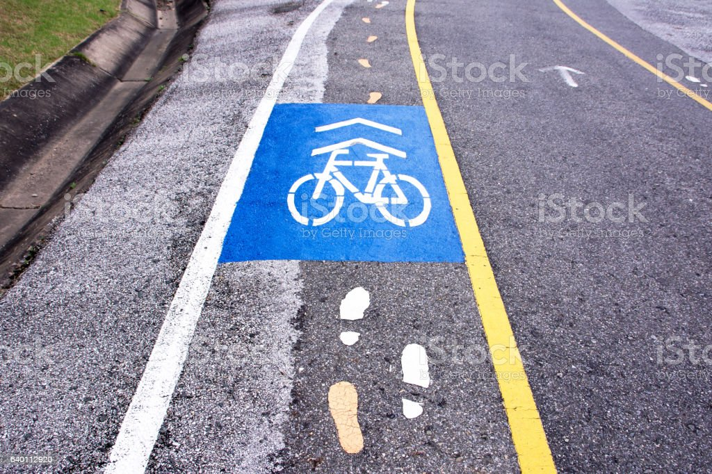 Bicycle and pedestrian paths lane vector art illustration