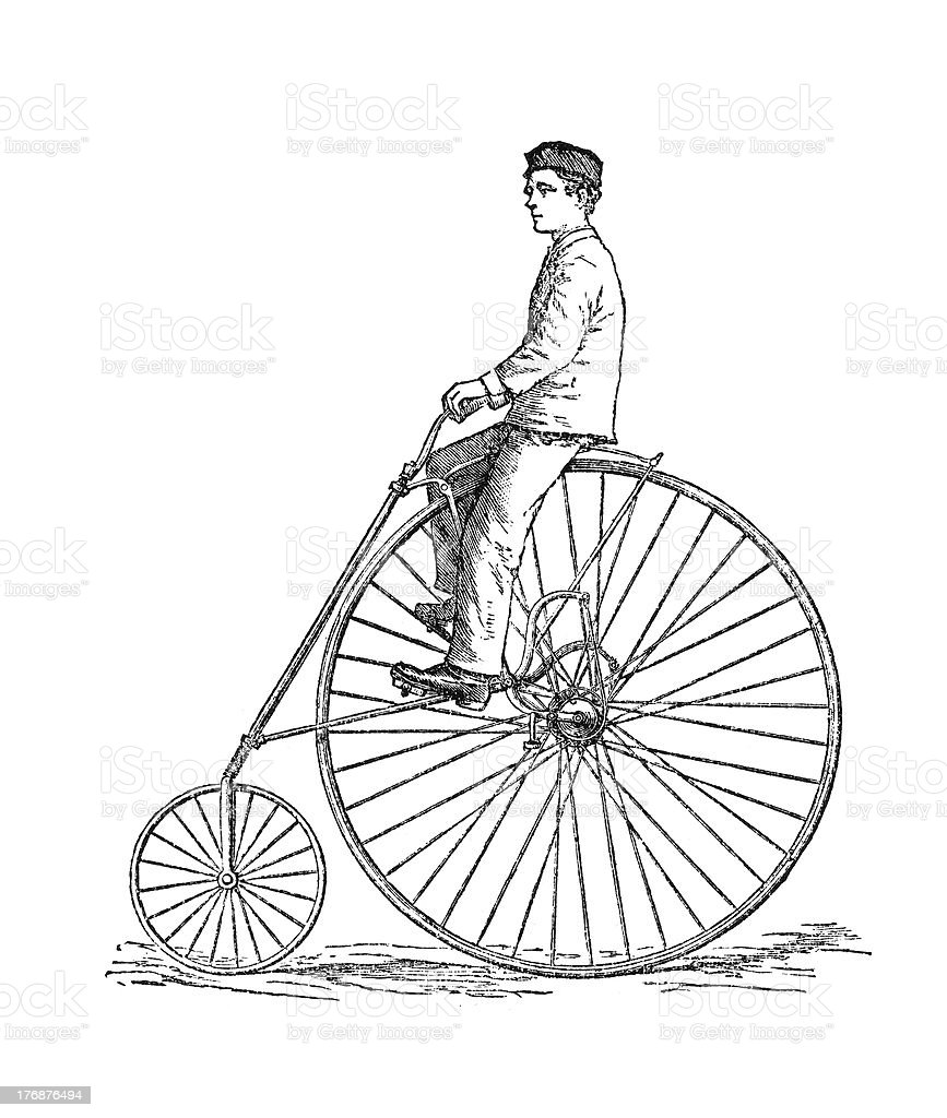 Bicycle fashion of 1880. vector art illustration