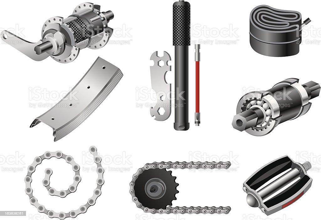 Bicycle parts set royalty-free stock vector art