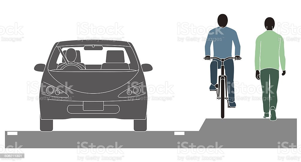 Bicycle. Pedestrian. Automobile. vector art illustration