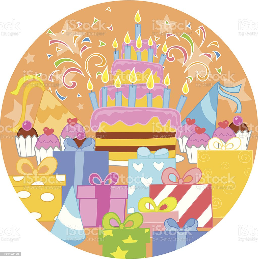 Big birthday cake and decorations royalty-free stock vector art