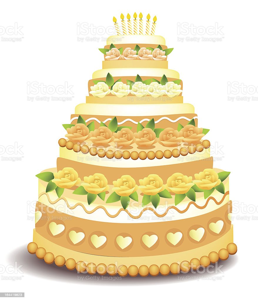 Big Cake With Sweet Roses stock vector art 164419823 | iStock