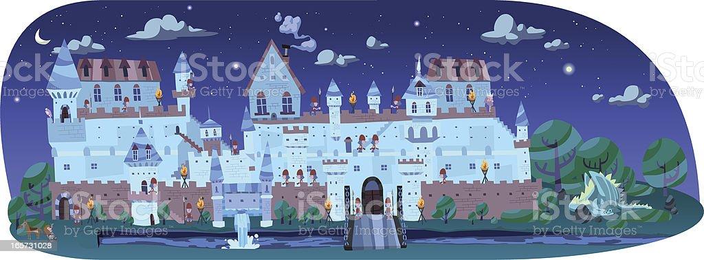 Big castle at night time vector art illustration