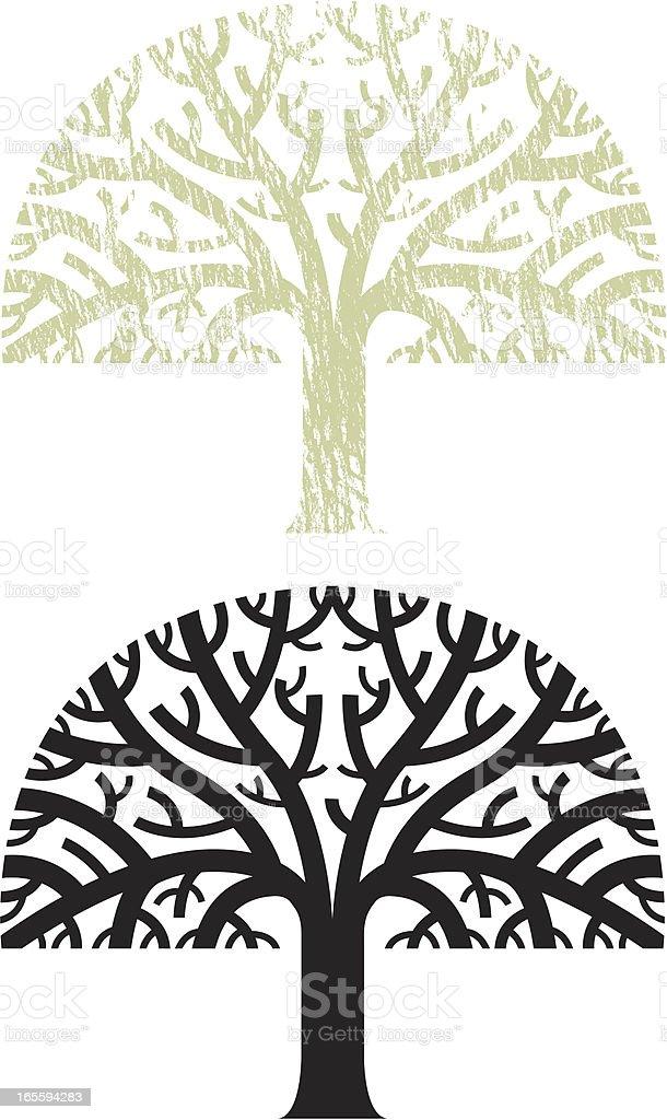 Big chunky tree vector art illustration