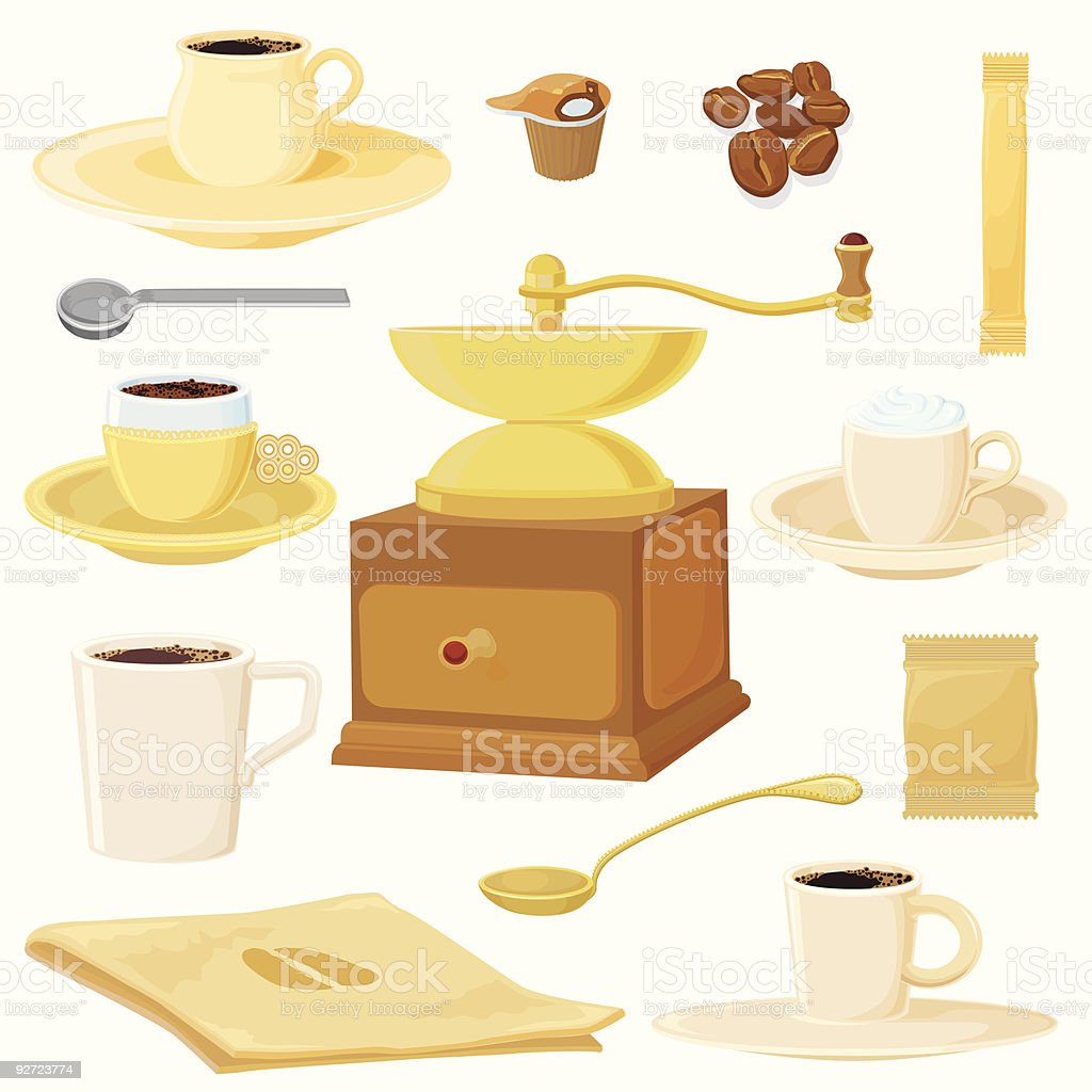 Big coffee set royalty-free stock vector art
