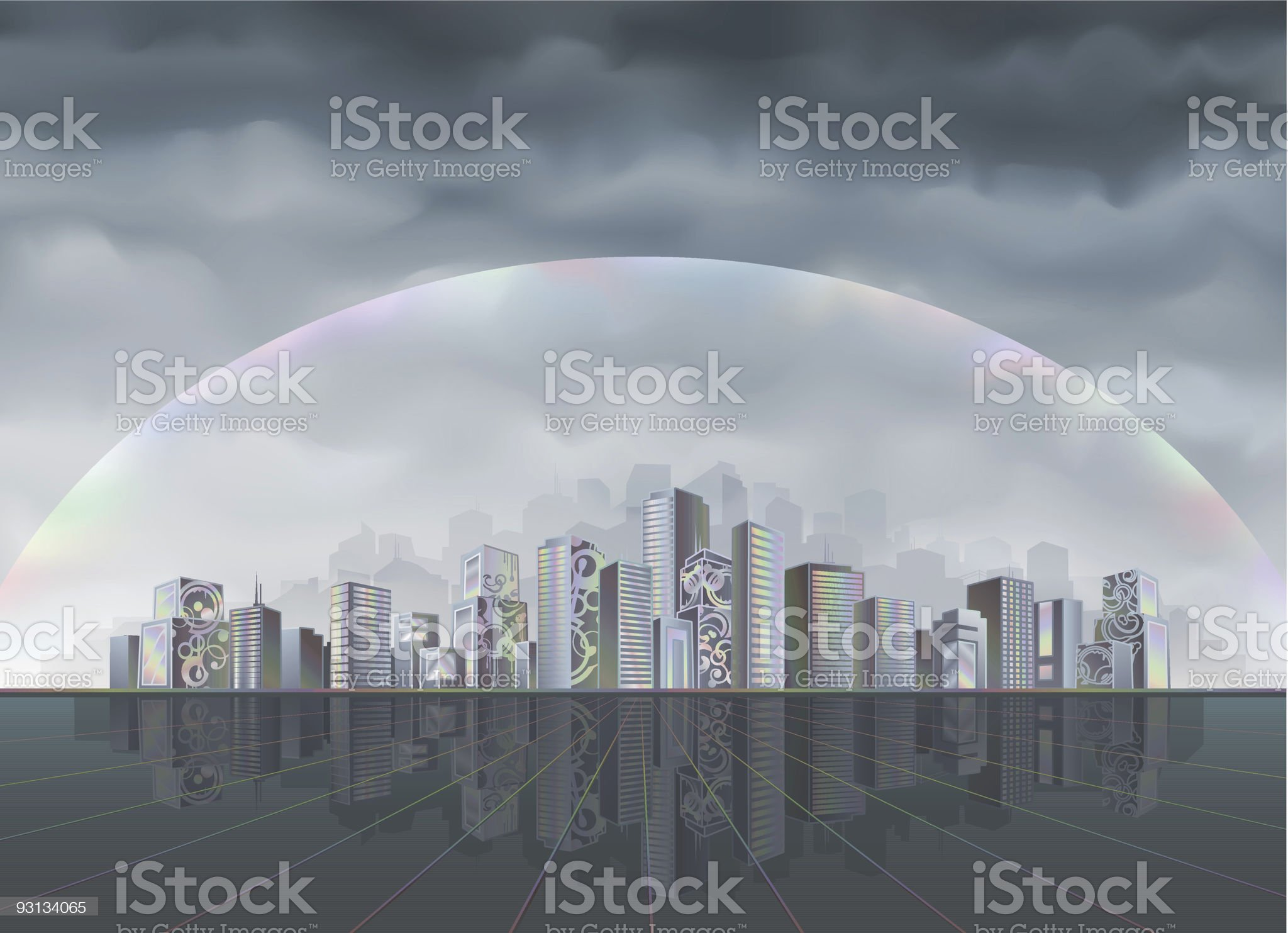 Big fantastic city protected by forcefield royalty-free stock vector art