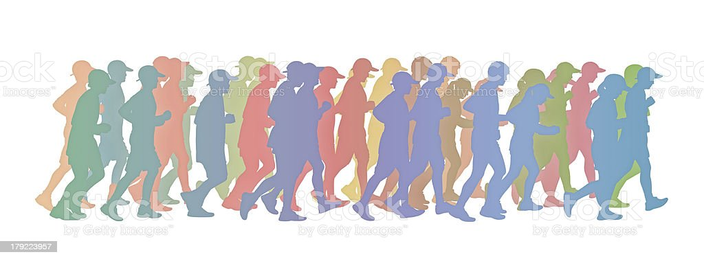 big group of people running colorful silhouette vector art illustration
