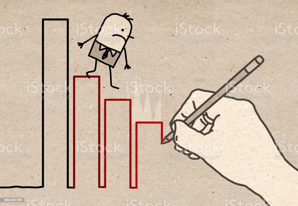 Big Hand - climbing down vector art illustration