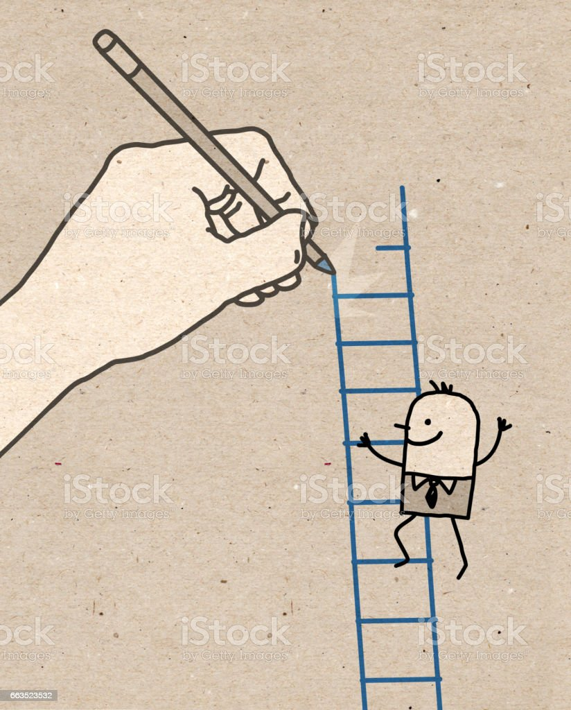 Big Hand - climbing up vector art illustration