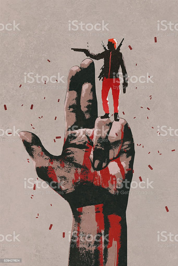 big hand in gun sign with man shooting gun vector art illustration