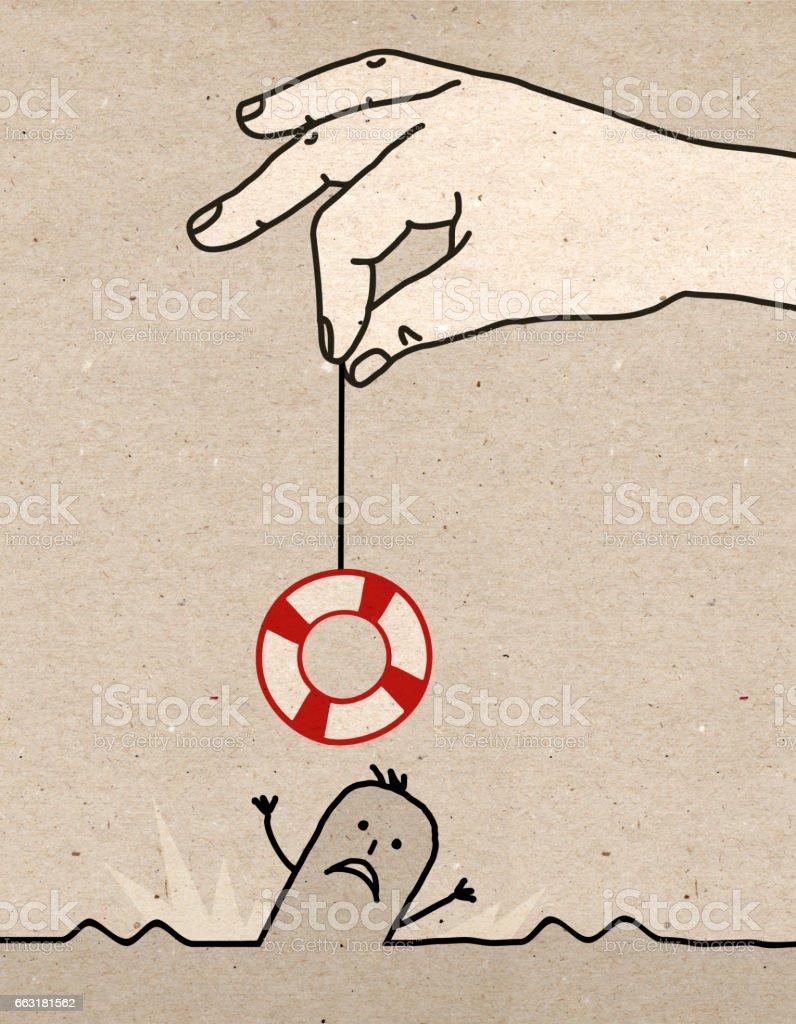Big hand - rescue vector art illustration
