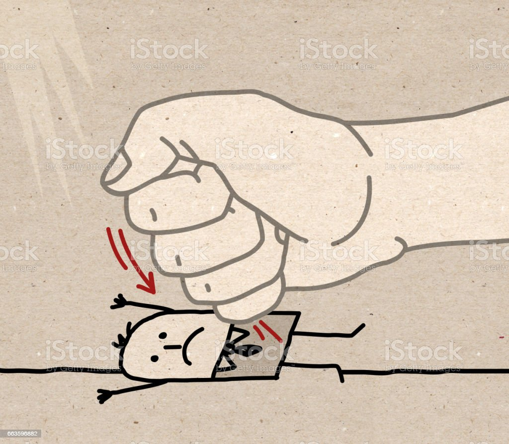 Big Hand - under pressure vector art illustration
