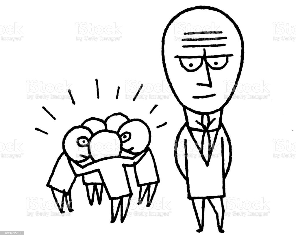 Big Head Man vector art illustration