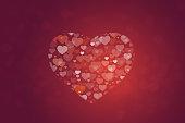 Big heart shape made form many small hearts
