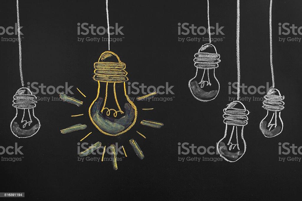 Big Idea Light Bullb on blackboard vector art illustration