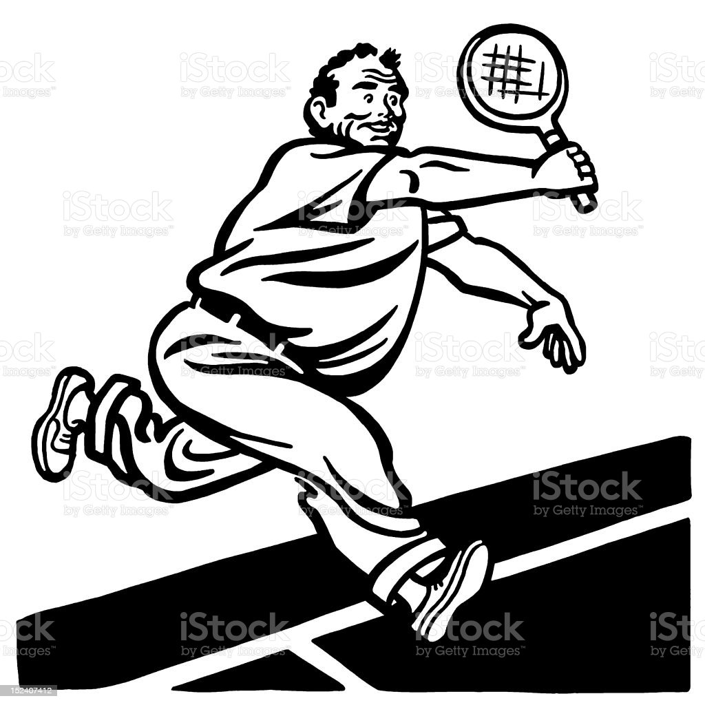Big Man Playing Tennis royalty-free stock vector art