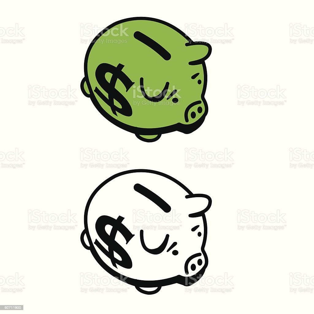 big money piggy bank royalty-free stock vector art