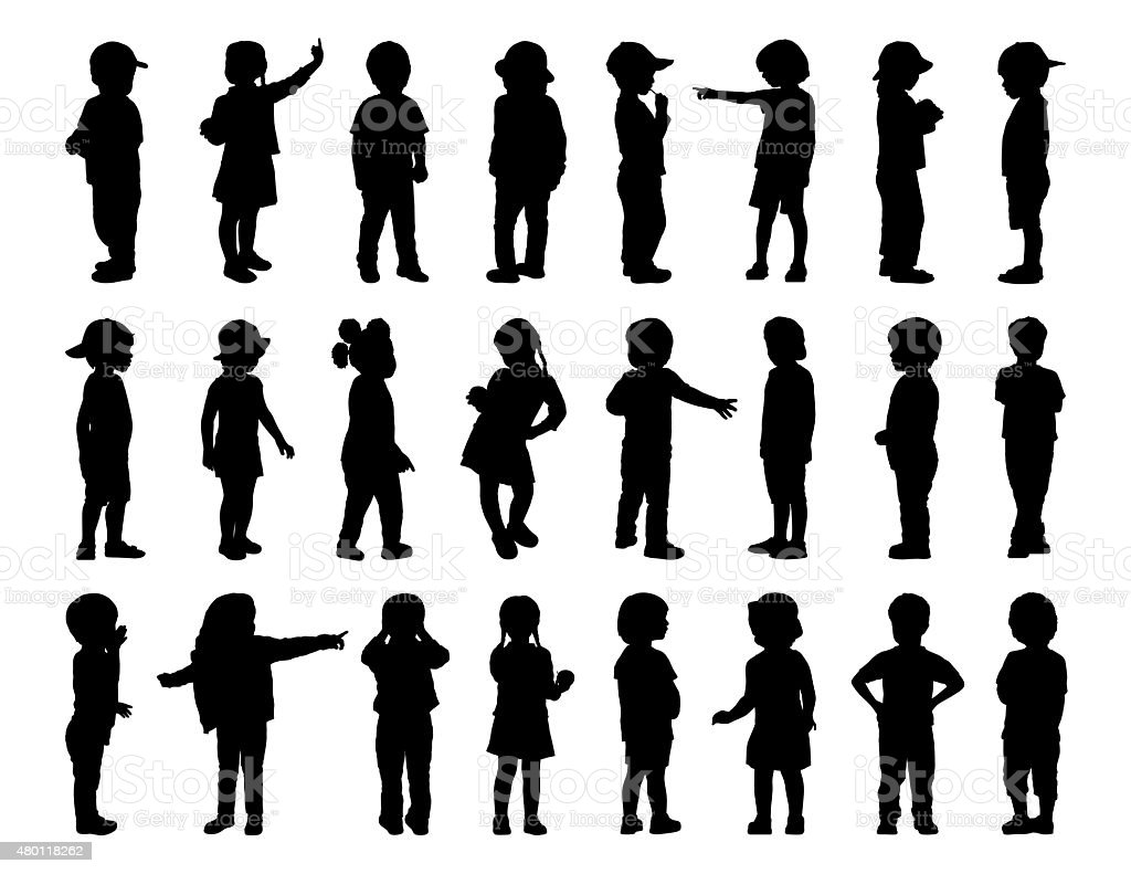 big set of children standing silhouettes 1 vector art illustration