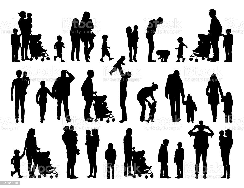 big set of families with young children silhouettes vector art illustration