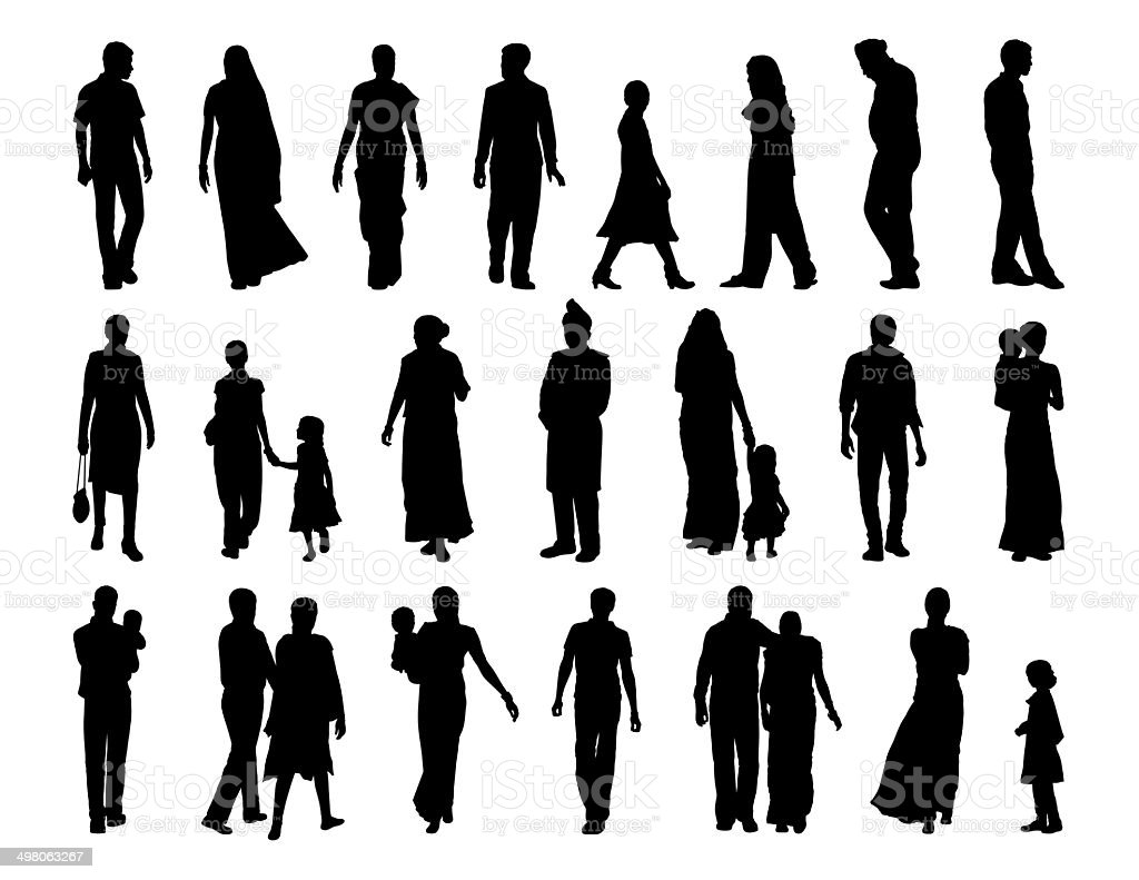 big set of indian people silhouettes vector art illustration