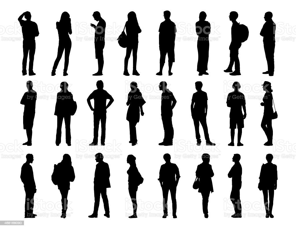 big set of men and women standing silhouettes 2 vector art illustration