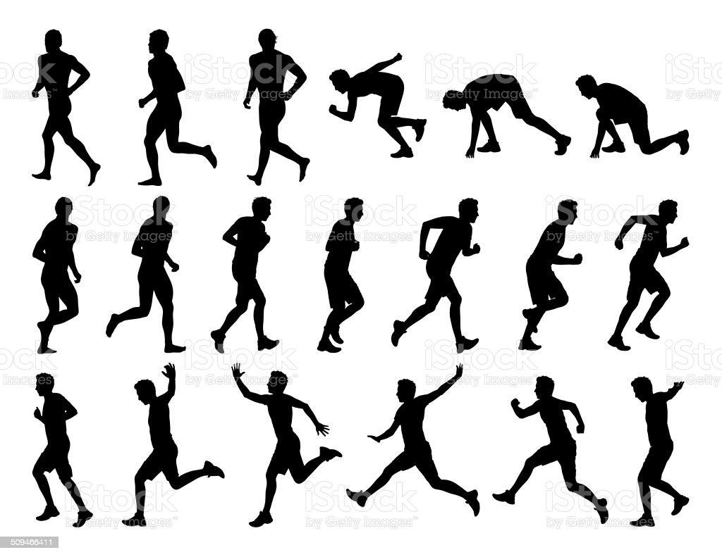 big set of men running silhouettes vector art illustration