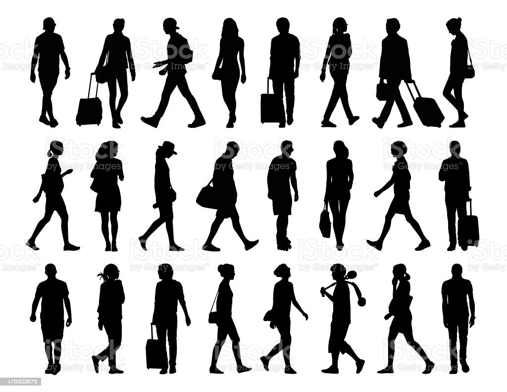 big set of people walking silhouettes set 4 vector art illustration