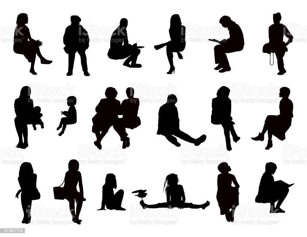 big set of women seated silhouettes vector art illustration