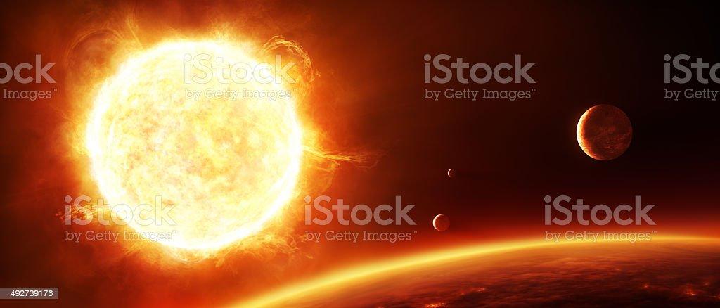 Big sun with planets vector art illustration