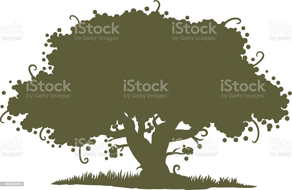 big tree silhouette vector art illustration