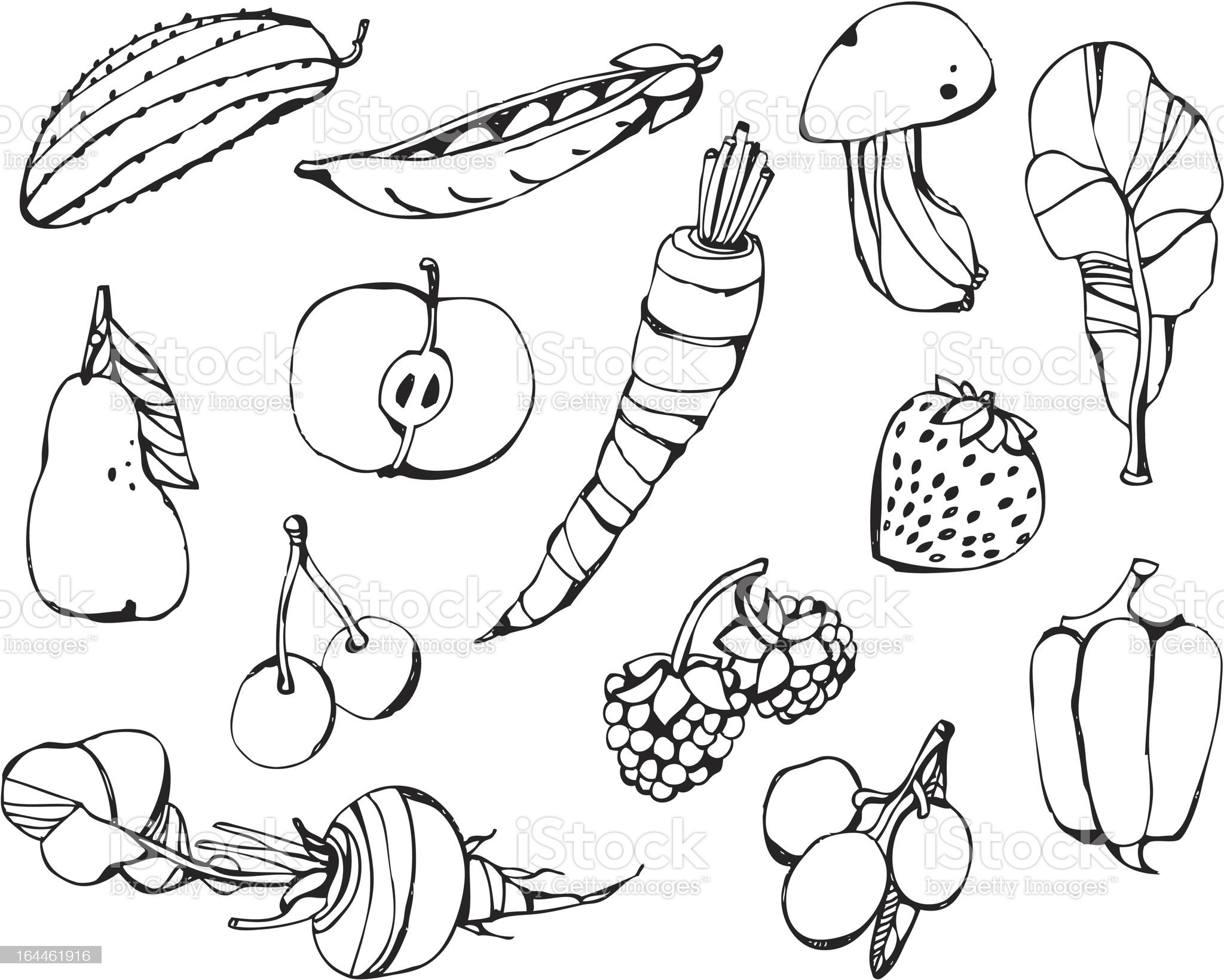 big vector set - fruits and vegetables royalty-free stock vector art