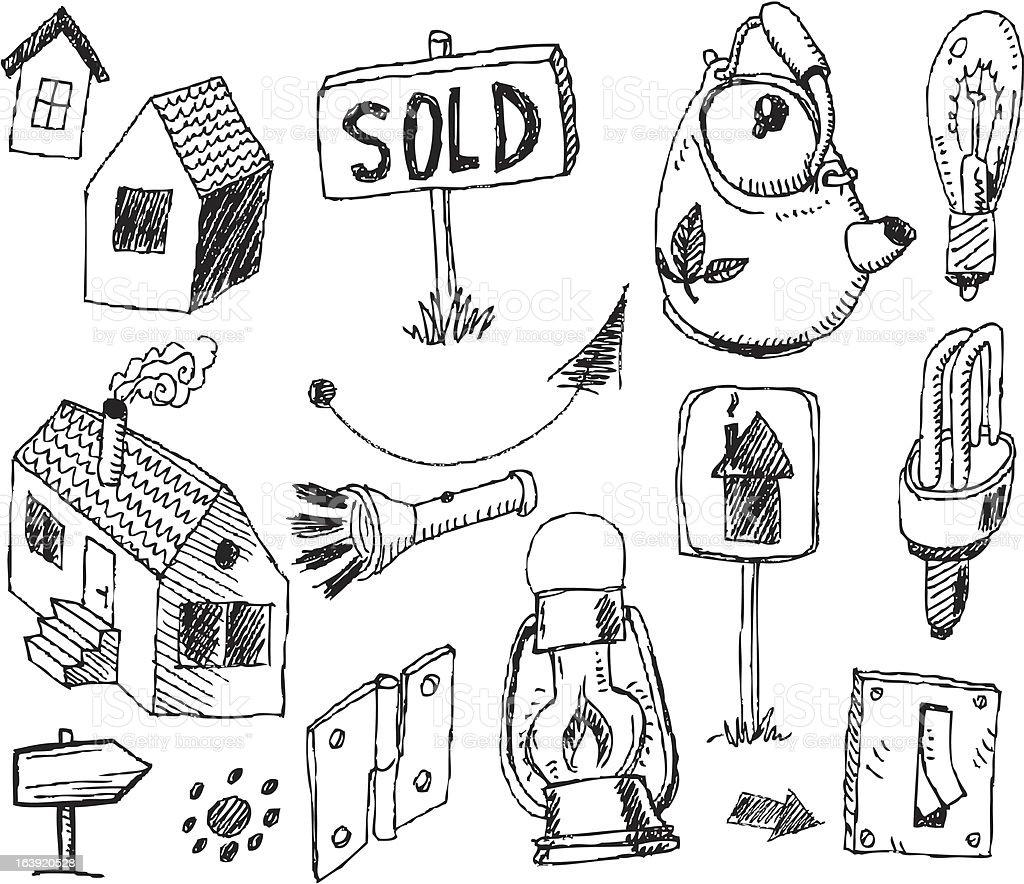 big vector set - houses royalty-free stock vector art